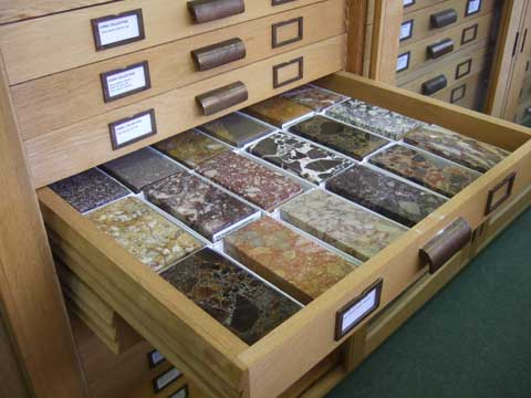 A drawer of the Corsi stone collection