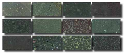 Examples of serpentino verde antico in Corsi's collection showing how it varies in
